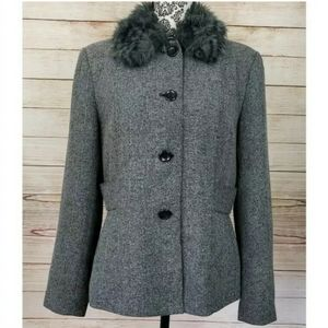 Focus 2000 Gray Winter Button Up Jacket Faux Fur